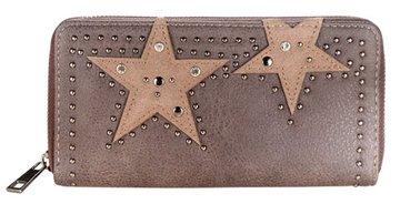 Dames portemonnee met sterren - bruin / beige