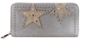 Dames portemonnee met sterren - grijs / lichtbruin