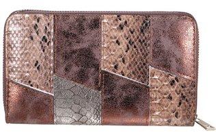 Dames portemonnee met slangenprint - bruin