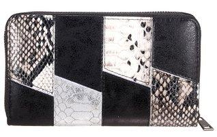 Dames portemonnee met slangenprint - zwart