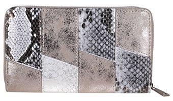 Dames portemonnee met slangenprint - grijs