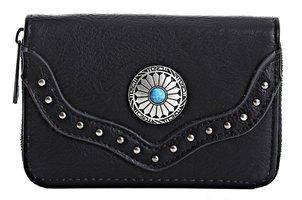 Dames portemonnee boho-stijl - zwart