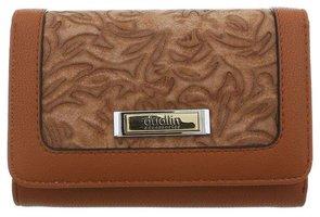 Dames portemonnee met bloemen - bruin