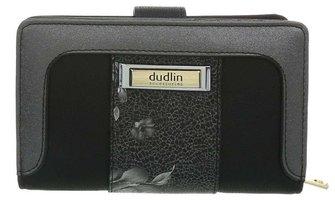 Dames portemonnee met bloemen - zwart