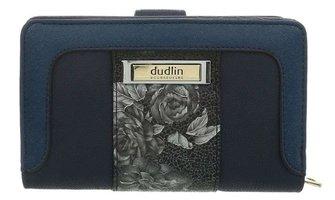 Dames portemonnee met bloemen - blauw