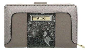 Dames portemonnee met bloemen - grijs