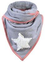 Dames driehoek sjaal met ster en teddy voering - grijs