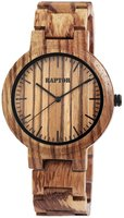 Raptor Watches houten herenhorloge / wood watch - bruin / gestreept