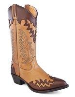 Heren western laarzen / cowboy boots echt leder - tan chocolate