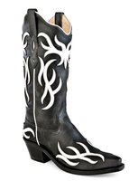 Dames western laarzen / cowboy boots echt leder - black / white