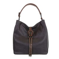 Dames tas / handtas met studs en afneembare schouderband - grijs