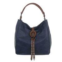 Dames tas / handtas met studs en afneembare schouderband - blauw