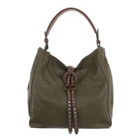 Dames tas / handtas met studs en afneembare schouderband - legergroen