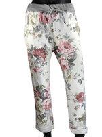 Dames comfy broek met bloemenprint - roze / wit