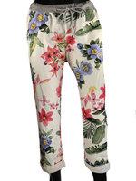 Dames comfy broek met bloemenprint - roze / groen