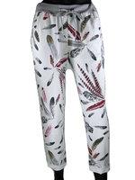 Dames comfy broek met verenprint - rood / grijs