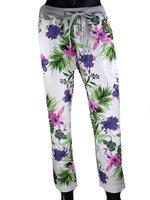 Dames comfy broek met bloemenprint - paars / groen