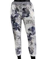 Dames comfy broek met bloemenprint - blauw / wit