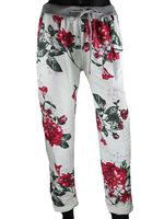 Dames comfy broek met bloemenprint - rood / wit