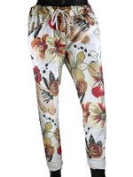 Dames comfy broek met bloemenprint - rood / beige