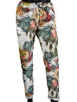 Dames comfy broek met bloemenprint - groen / wit