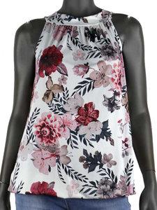 Dames mouwloze top met bloemen print - wit / roze