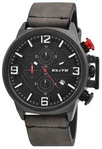 Elite Chronograph XXL herenhorloge met lederen band - grijs / zwart