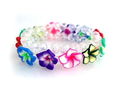 Armband fimo bloem - multicolor