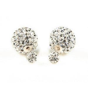 Double Blings (Dots look) oorbellen met strass - wit
