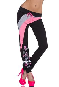Joggingbroek Voor Dames.Dames Joggingbroek Zwart Neon Roze Lunamex Jewelry Watches