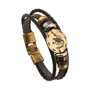 Armband leder / staal met sterrenbeeld - schorpioen