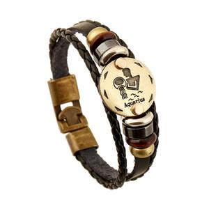 Armband leder / staal met sterrenbeeld - waterman