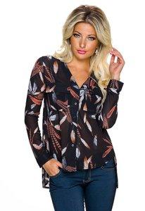blouse met veertjes