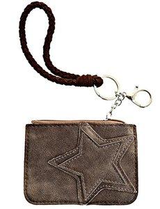 Dames mini-portemonnee met ster - bruin
