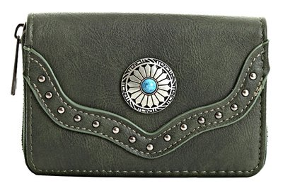 Dames portemonnee boho-stijl - legergroen