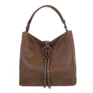 2d2fbe60f97 Dames tas / handtas met studs en afneembare schouderband - bruin ...
