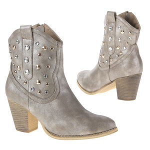Dames cowboy laarzen enkellaarsjes met studs zilverbeige