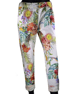 Dames comfy broek met tropical print - multicolor / wit