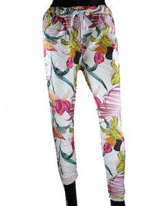 Dames comfy broek met tropical print - roze / wit